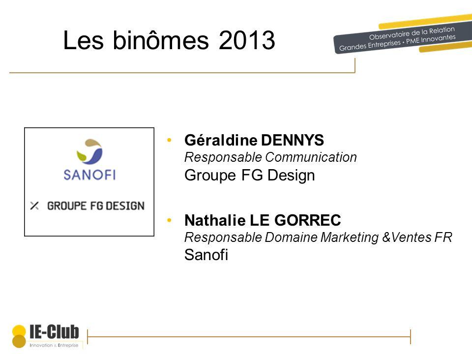 Les binômes 2013 Géraldine DENNYS Responsable Communication Groupe FG Design.