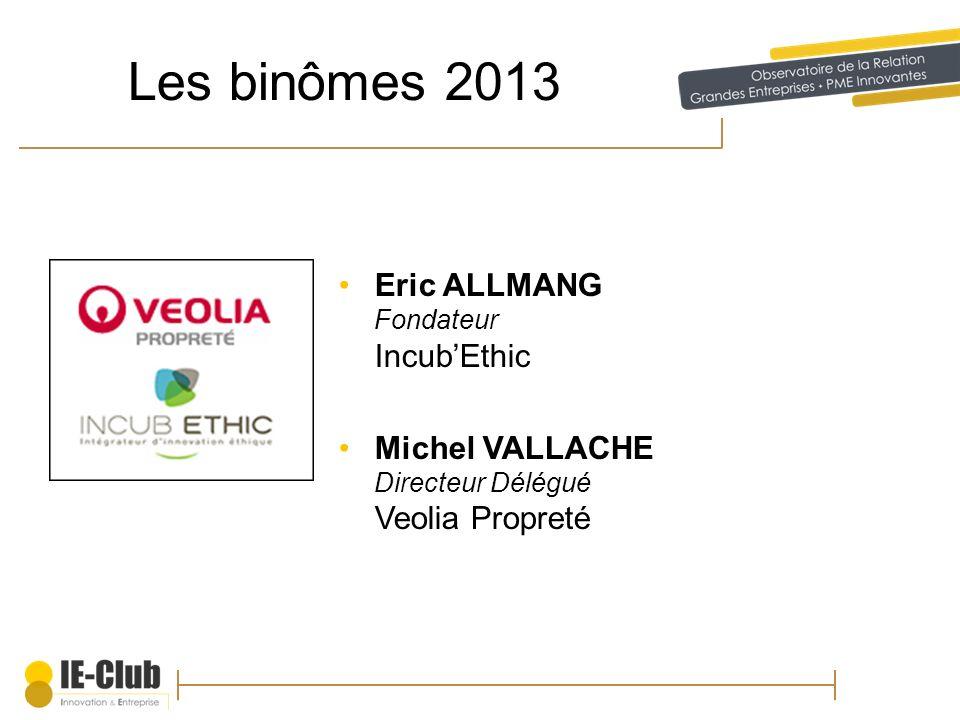 Les binômes 2013 Eric ALLMANG Fondateur Incub'Ethic