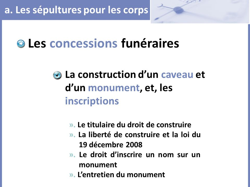 Les concessions funéraires
