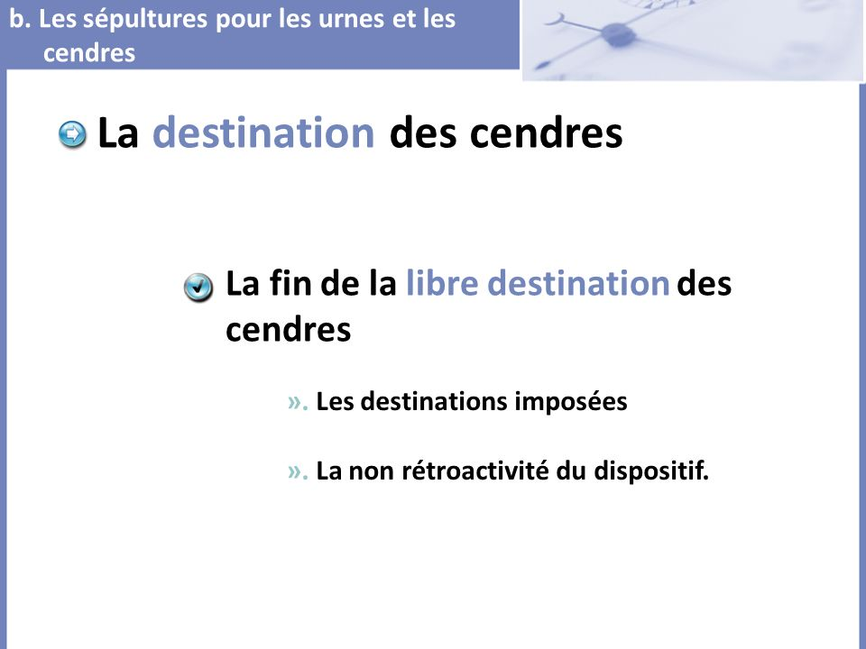 La destination des cendres