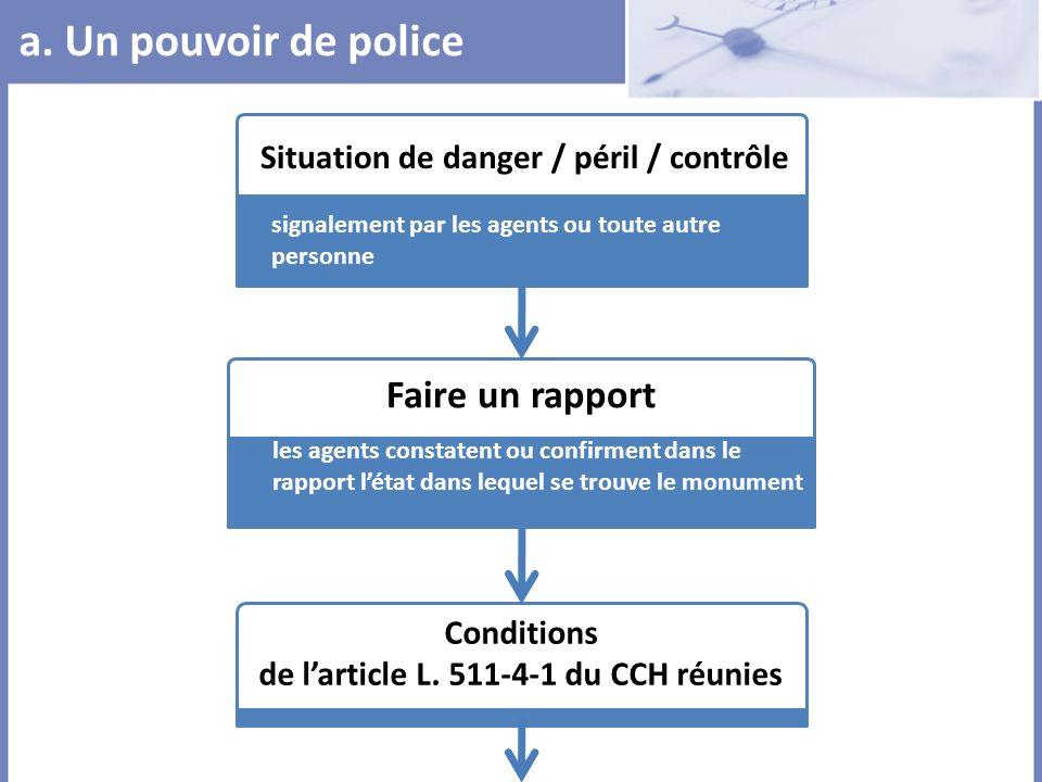 a. Un pouvoir de police Faire un rapport