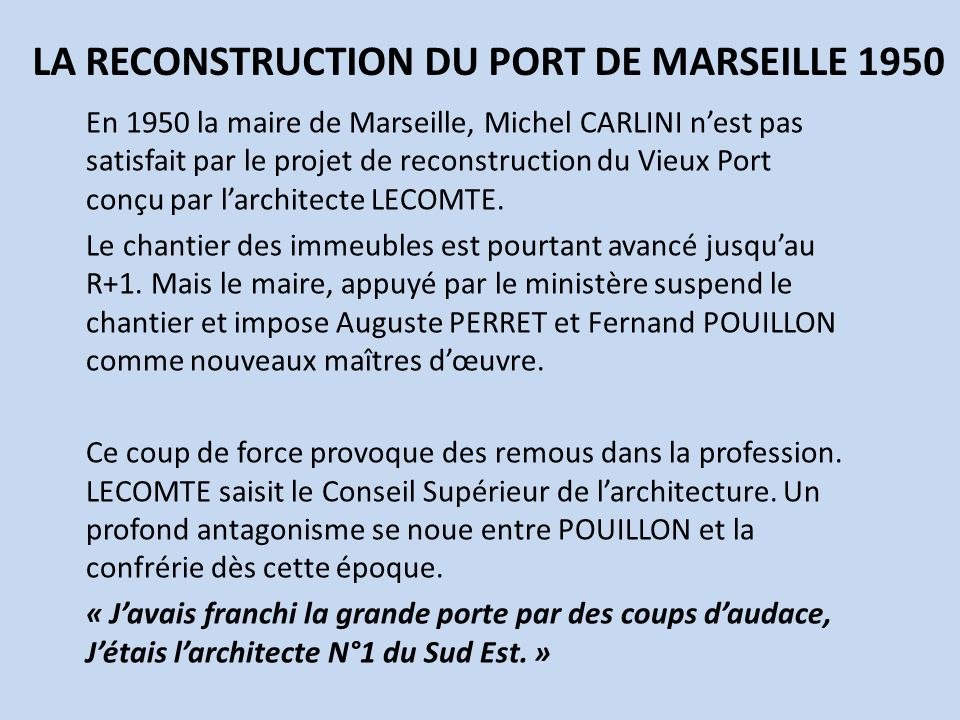 LA RECONSTRUCTION DU PORT DE MARSEILLE 1950