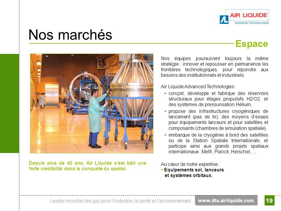 Nos marchés Espace www.dta.airliquide.com
