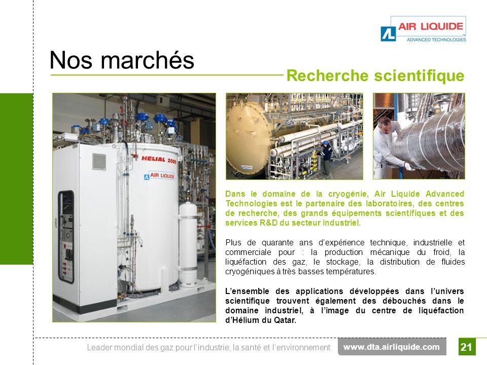 Nos marchés Recherche scientifique www.dta.airliquide.com