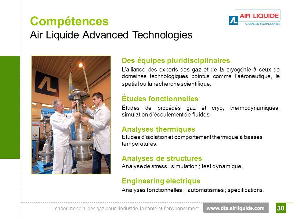 Compétences Air Liquide Advanced Technologies