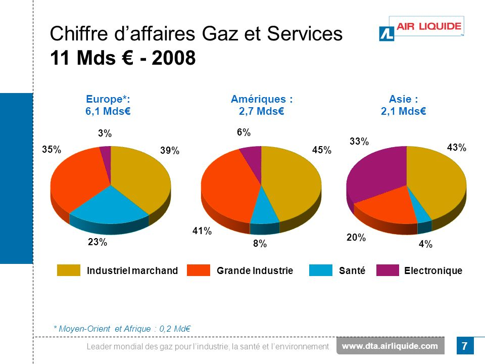 Chiffre d'affaires Gaz et Services 11 Mds € - 2008
