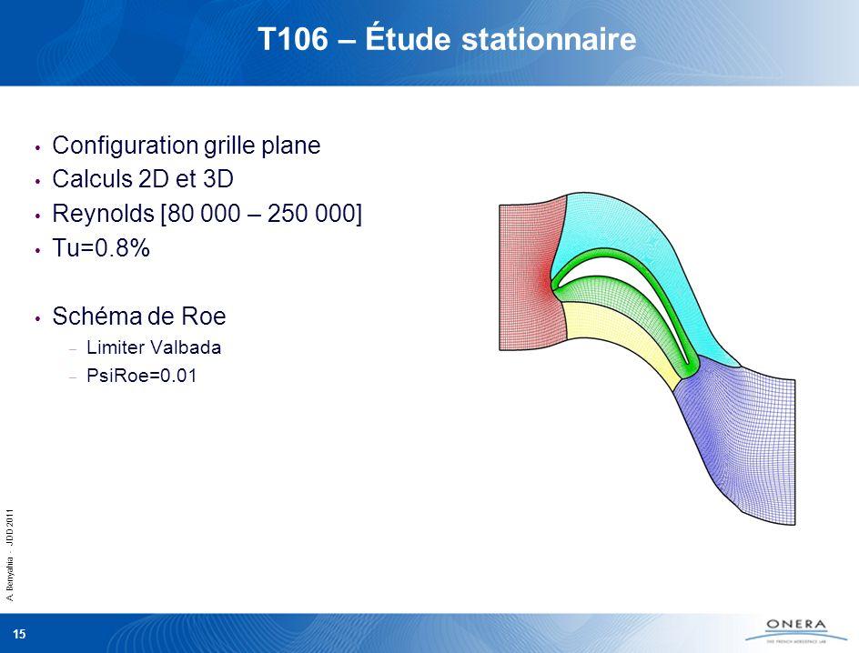 T106 – Étude stationnaire Configuration grille plane Calculs 2D et 3D