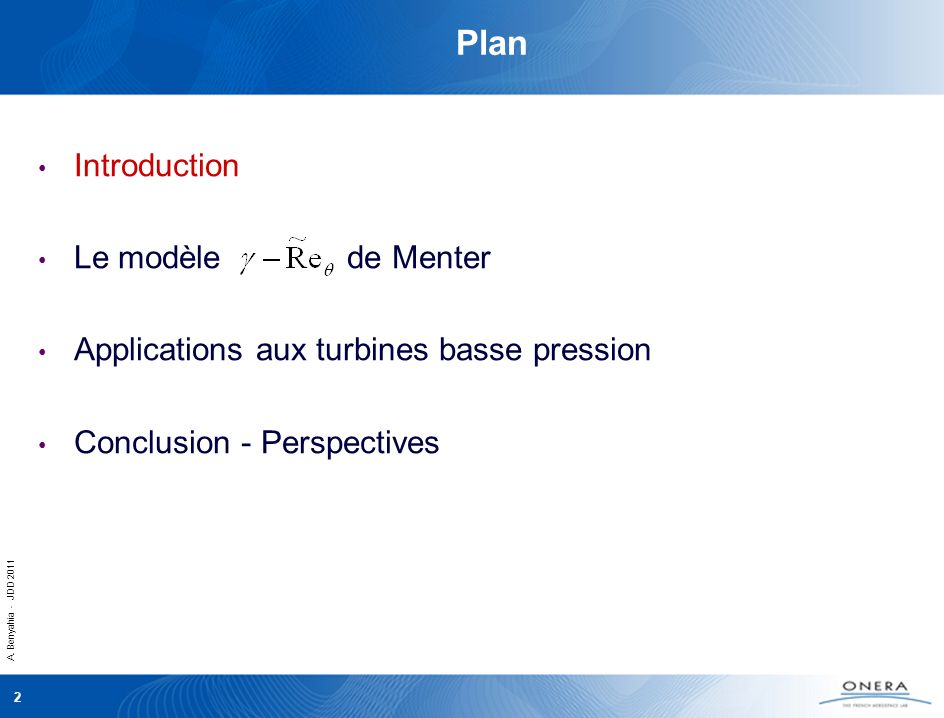 Plan Introduction Le modèle de Menter