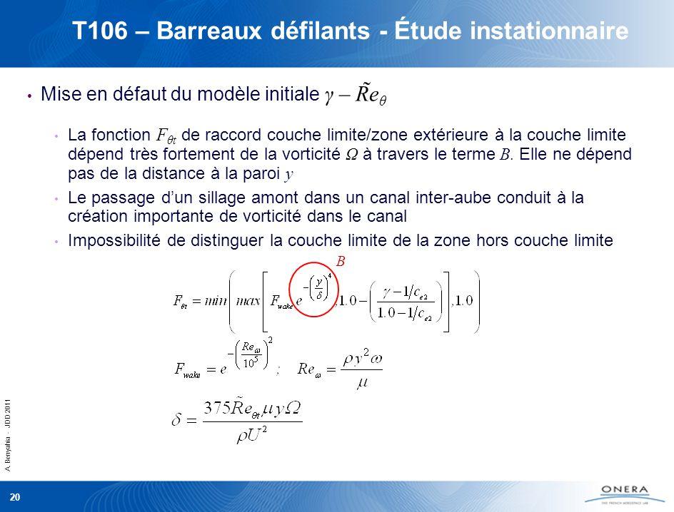 T106 – Barreaux défilants - Étude instationnaire