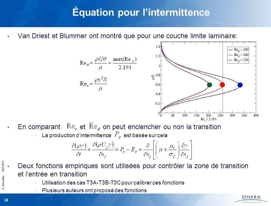 Équation pour l'intermittence