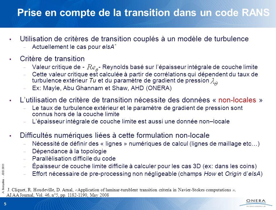 Prise en compte de la transition dans un code RANS