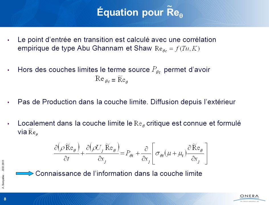 Équation pour Req ~ Le point d'entrée en transition est calculé avec une corrélation empirique de type Abu Ghannam et Shaw.