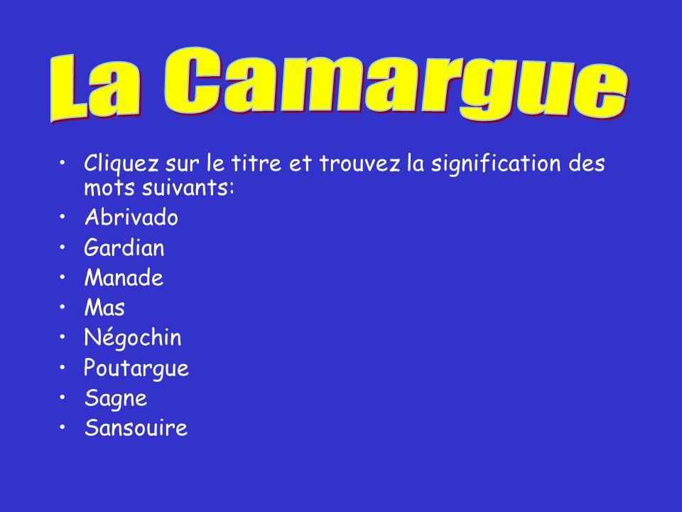 La Camargue Cliquez sur le titre et trouvez la signification des mots suivants: Abrivado. Gardian.