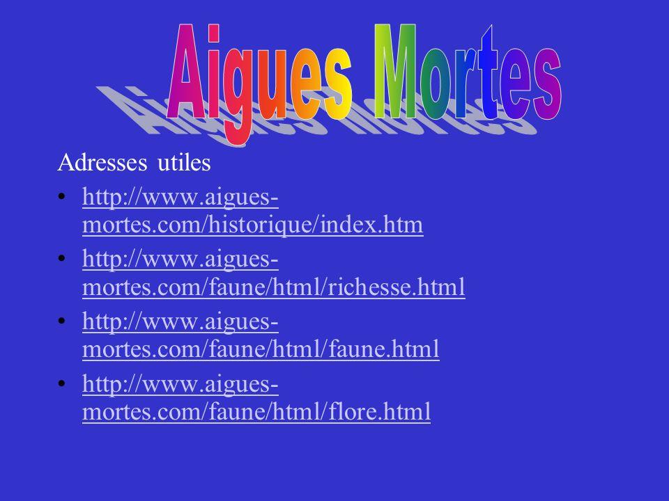 Aigues Mortes Adresses utiles. http://www.aigues-mortes.com/historique/index.htm. http://www.aigues-mortes.com/faune/html/richesse.html.