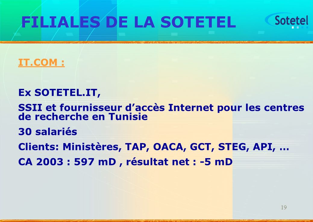 FILIALES DE LA SOTETEL IT.COM : Ex SOTETEL.IT,