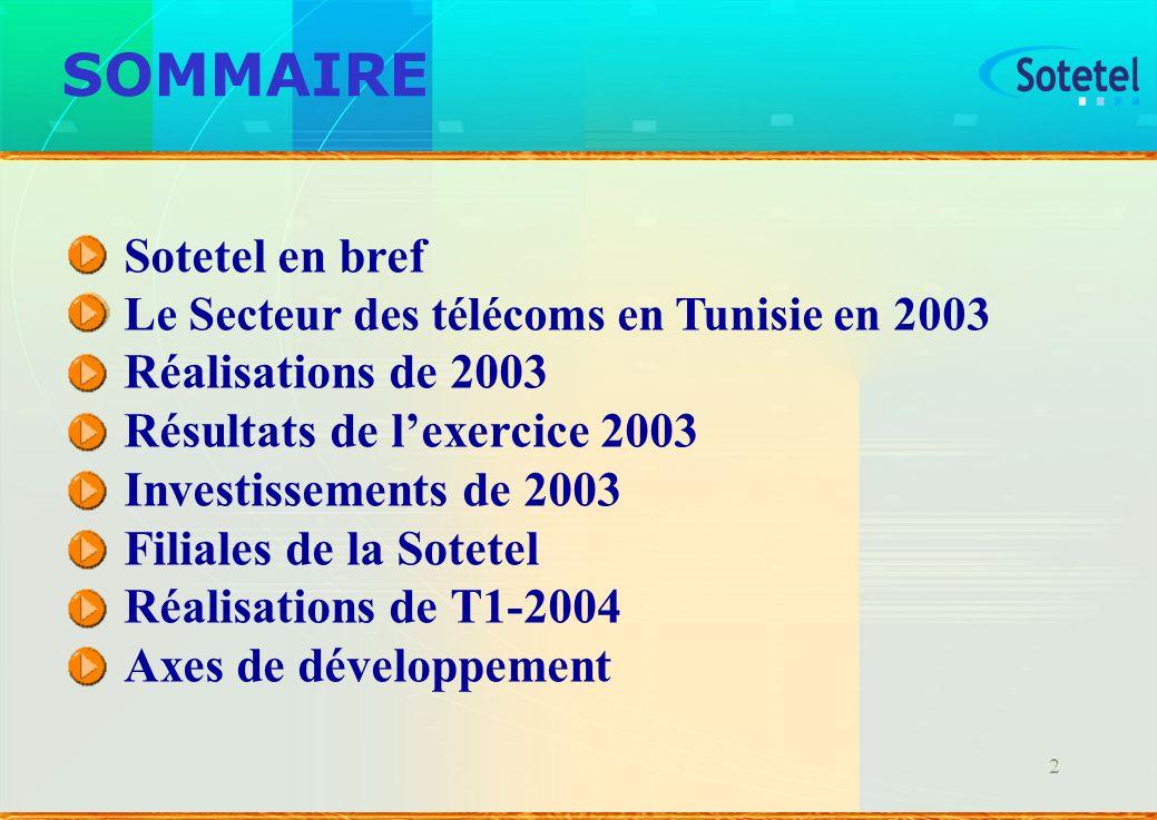 SOMMAIRE Sotetel en bref Réalisations de 2003