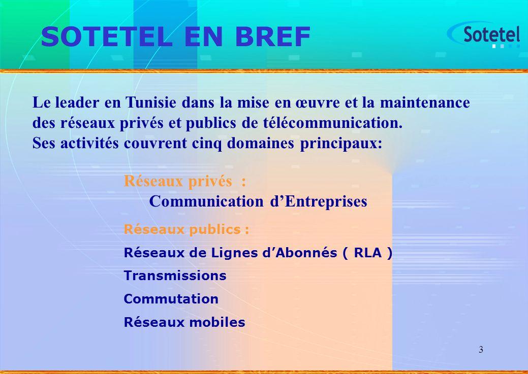 SOTETEL EN BREF Le leader en Tunisie dans la mise en œuvre et la maintenance des réseaux privés et publics de télécommunication.