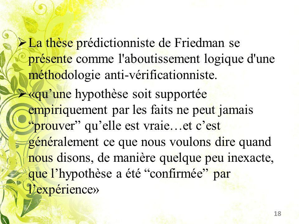 La thèse prédictionniste de Friedman se présente comme l aboutissement logique d une méthodologie anti-vérificationniste.