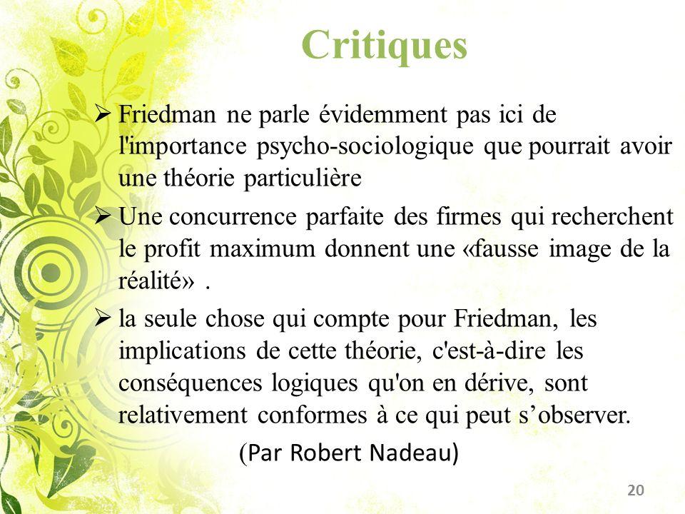Critiques Friedman ne parle évidemment pas ici de l importance psycho-sociologique que pourrait avoir une théorie particulière.