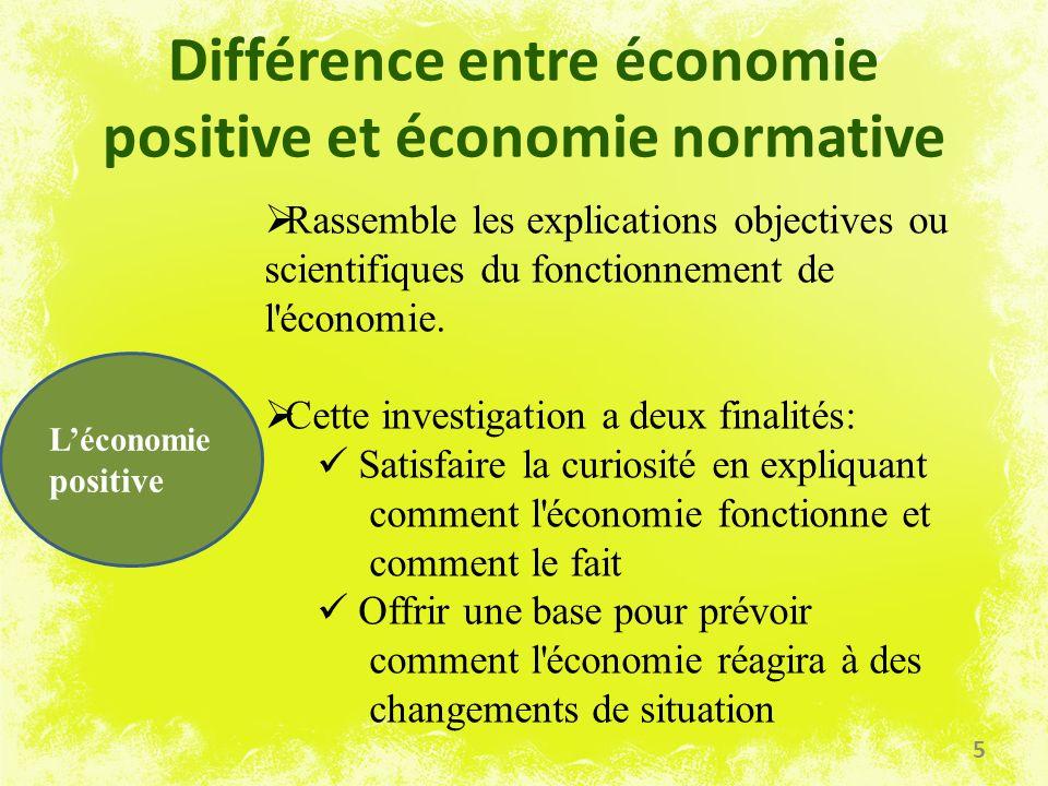 Différence entre économie positive et économie normative