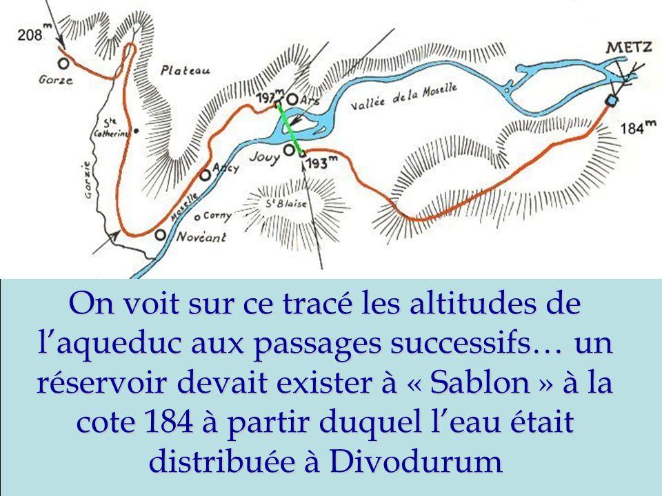 On voit sur ce tracé les altitudes de l'aqueduc aux passages successifs… un réservoir devait exister à « Sablon » à la cote 184 à partir duquel l'eau était distribuée à Divodurum