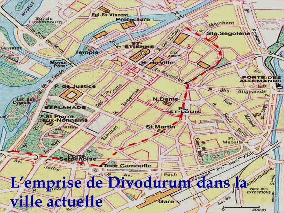 L'emprise de Divodurum dans la ville actuelle