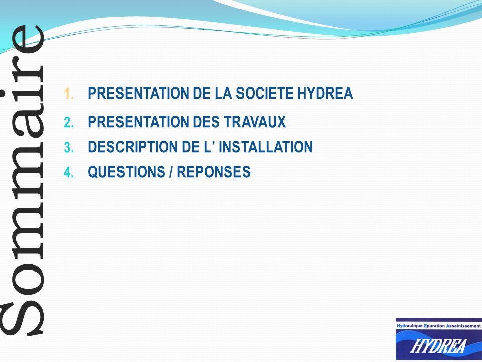 Sommaire PRESENTATION DE LA SOCIETE HYDREA PRESENTATION DES TRAVAUX