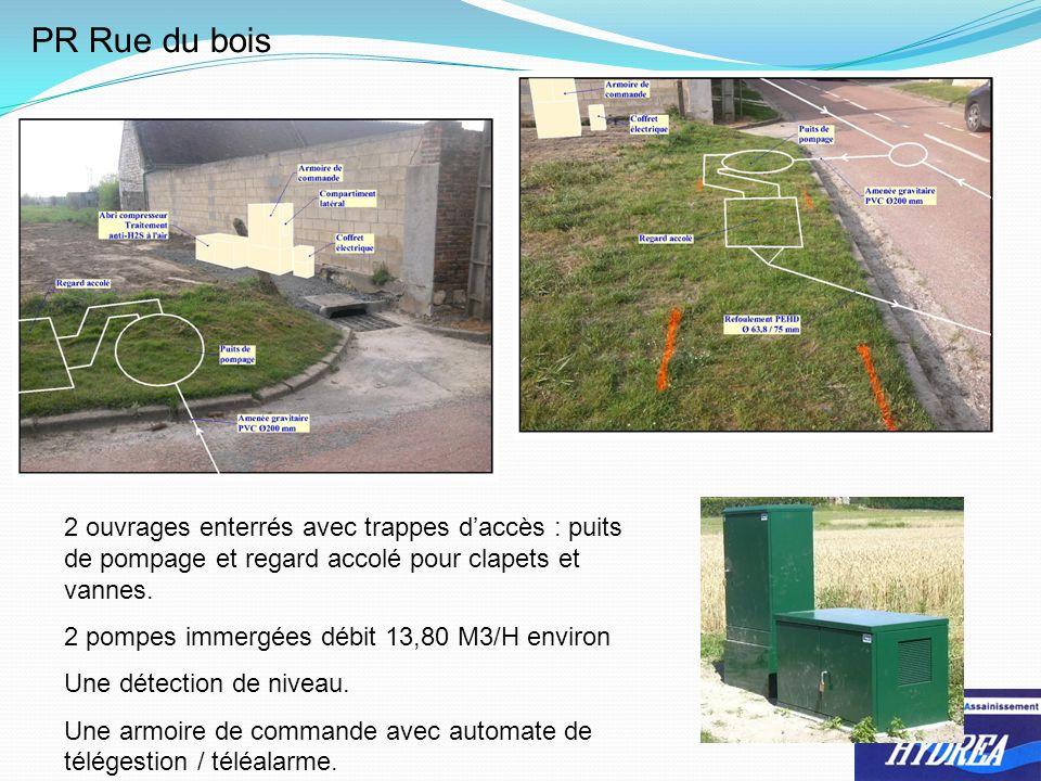 PR Rue du bois 2 ouvrages enterrés avec trappes d'accès : puits de pompage et regard accolé pour clapets et vannes.
