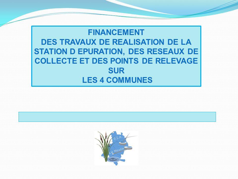 FINANCEMENT DES TRAVAUX DE REALISATION DE LA STATION D EPURATION, DES RESEAUX DE COLLECTE ET DES POINTS DE RELEVAGE SUR.
