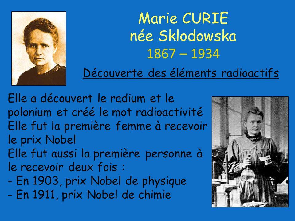 Marie CURIE née Sklodowska 1867 – 1934