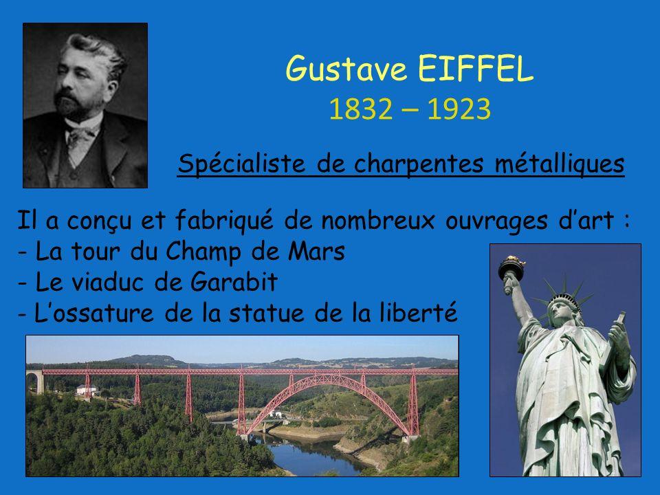 Gustave EIFFEL 1832 – 1923 Spécialiste de charpentes métalliques