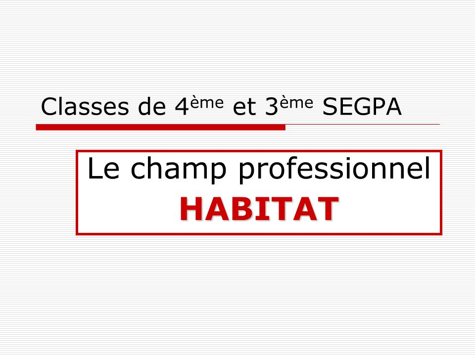 Classes de 4ème et 3ème SEGPA