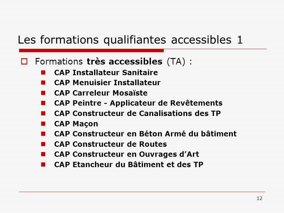 Les formations qualifiantes accessibles 1