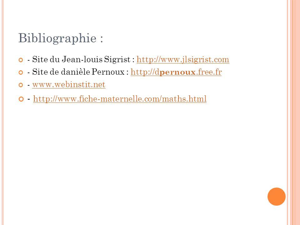 Bibliographie : - http://www.fiche-maternelle.com/maths.html