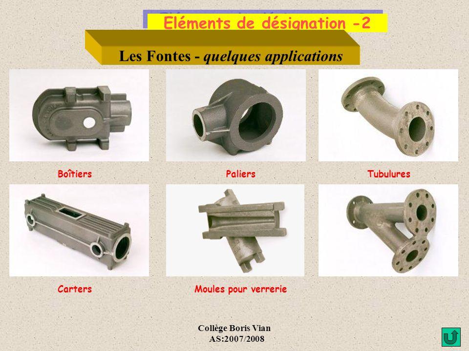 Eléments de désignation -2 Les Fontes - quelques applications