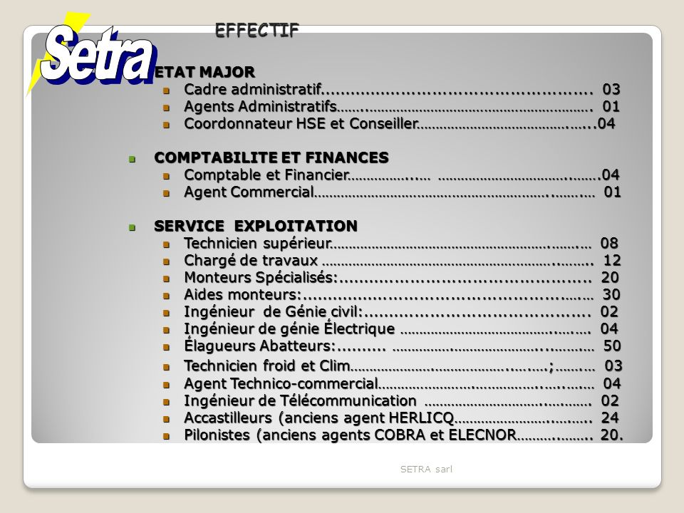 Setra EFFECTIF ETAT MAJOR
