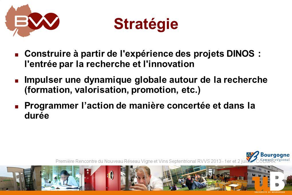 Stratégie Construire à partir de l expérience des projets DINOS : l entrée par la recherche et l innovation.