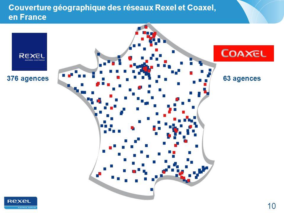 Couverture géographique des réseaux Rexel et Coaxel, en France