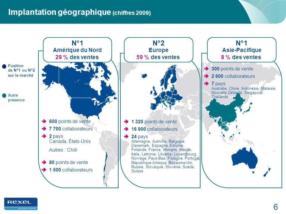Implantation géographique (chiffres 2009)