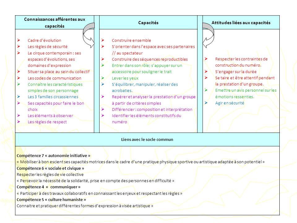 Connaissances afférentes aux capacités Capacités
