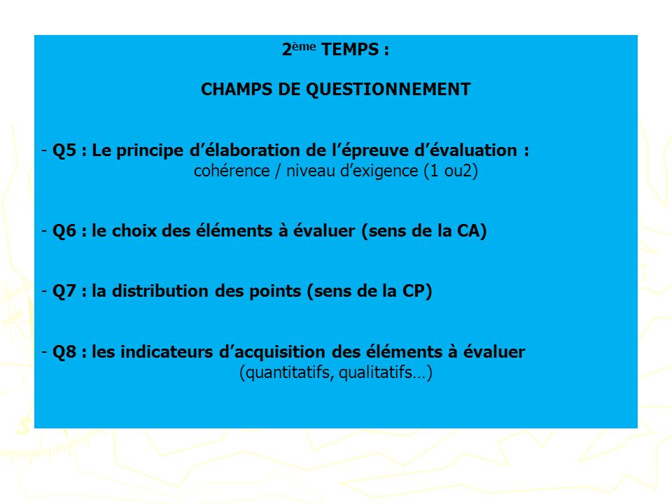 CHAMPS DE QUESTIONNEMENT