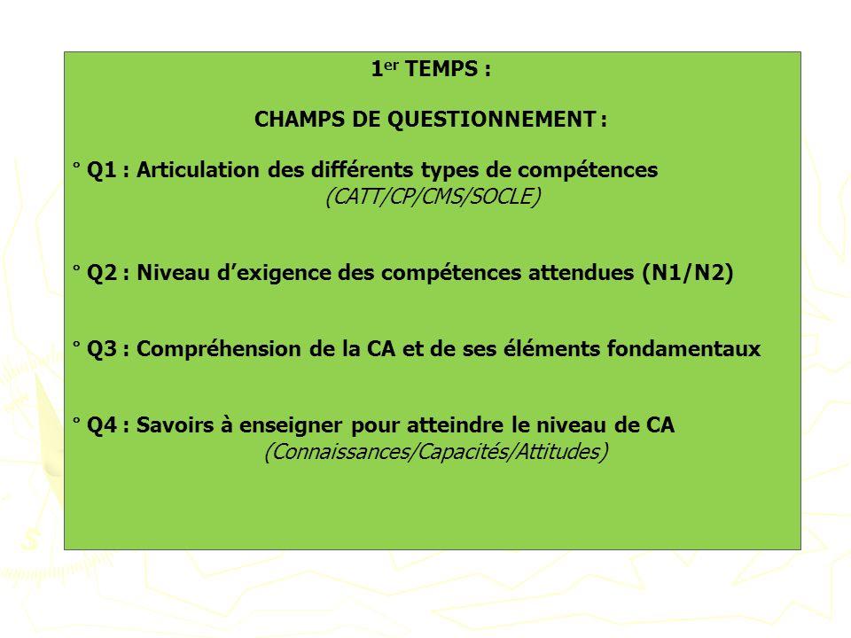 CHAMPS DE QUESTIONNEMENT :