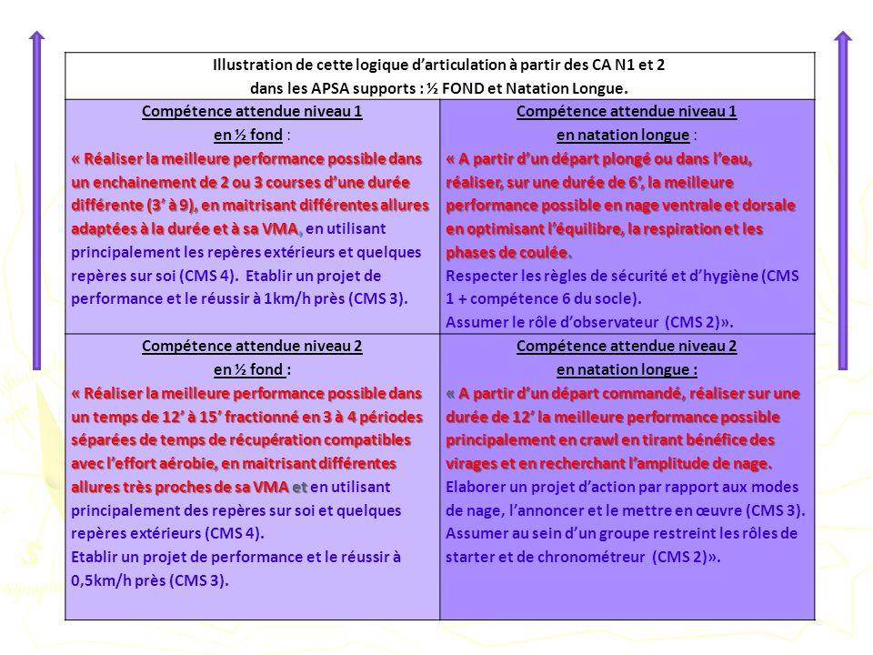 Illustration de cette logique d'articulation à partir des CA N1 et 2