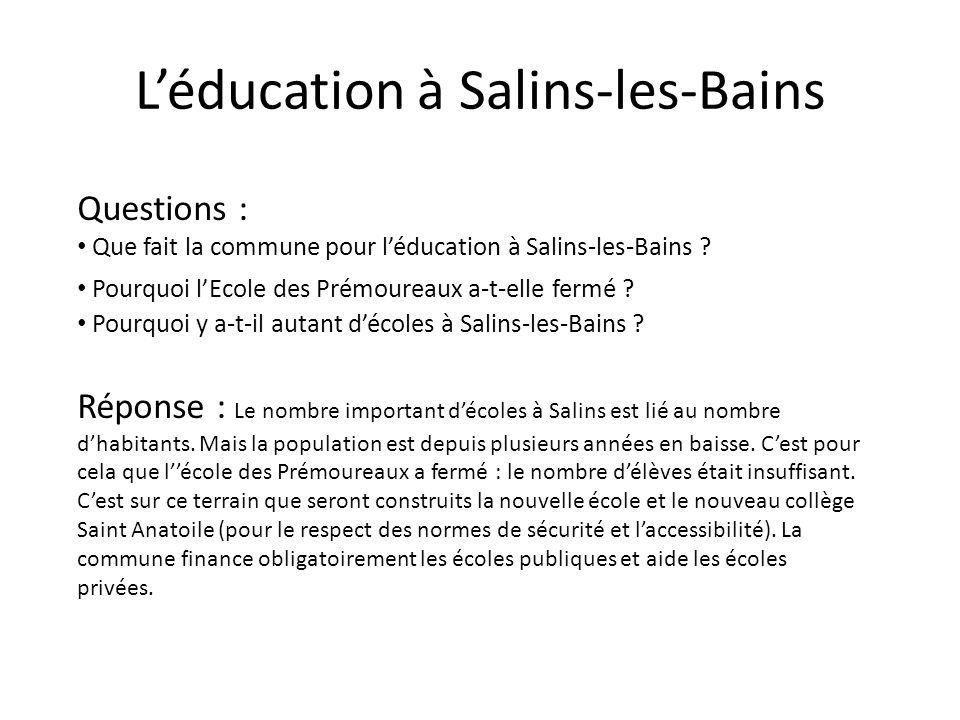 L'éducation à Salins-les-Bains
