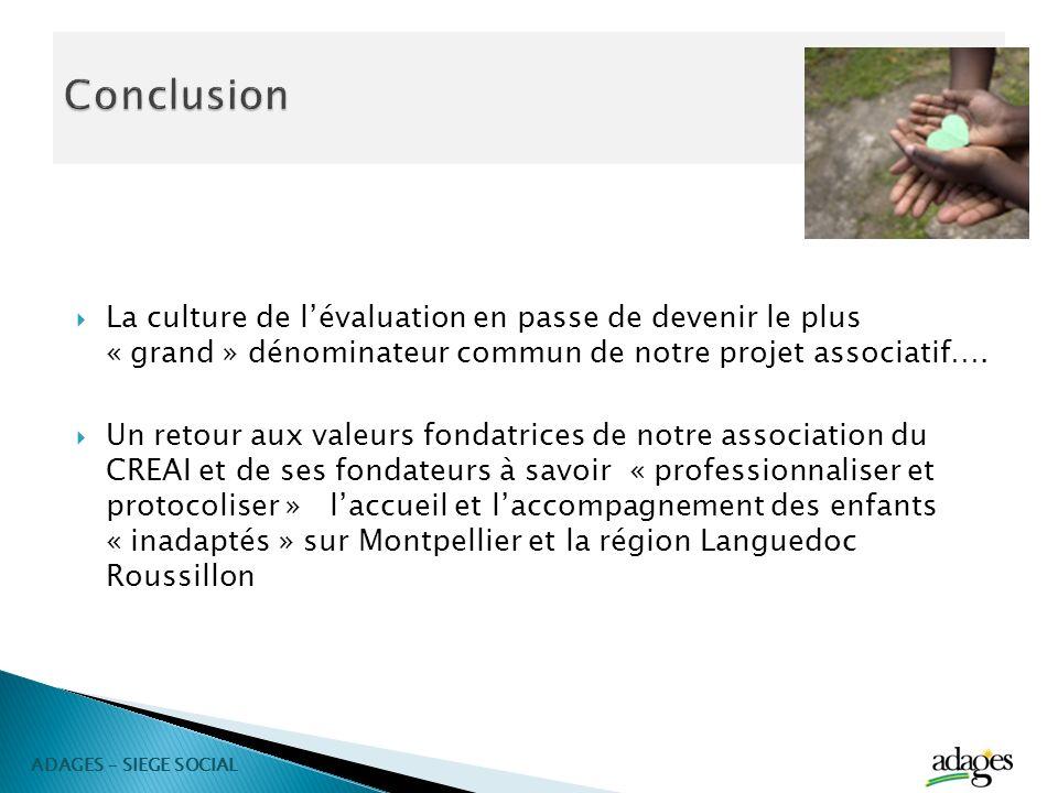 Conclusion La culture de l'évaluation en passe de devenir le plus « grand » dénominateur commun de notre projet associatif….
