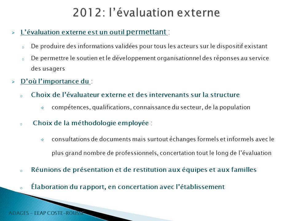 2012: l'évaluation externe