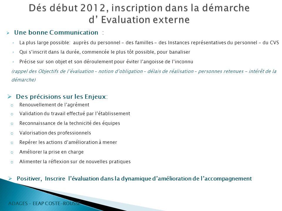 Dés début 2012, inscription dans la démarche d' Evaluation externe