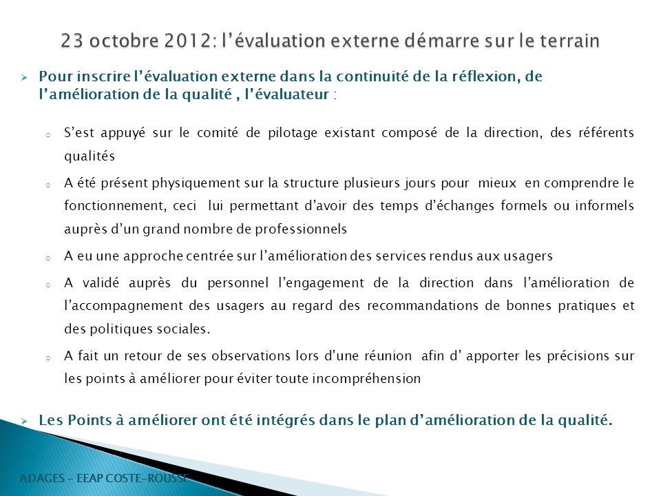 23 octobre 2012: l'évaluation externe démarre sur le terrain