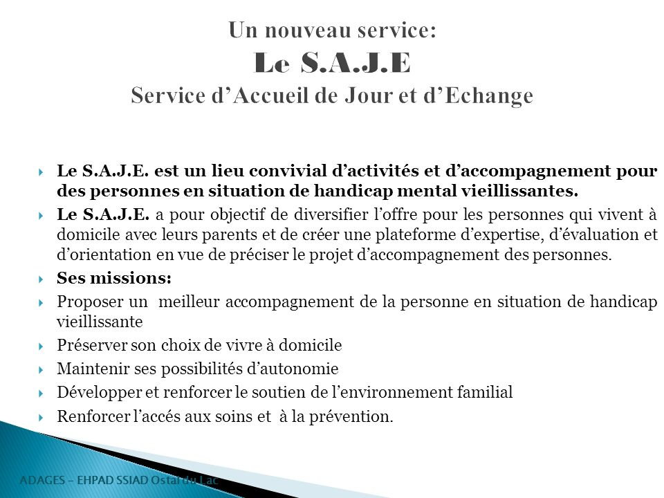 Un nouveau service: Le S.A.J.E Service d'Accueil de Jour et d'Echange