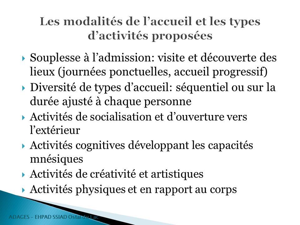 Les modalités de l'accueil et les types d'activités proposées
